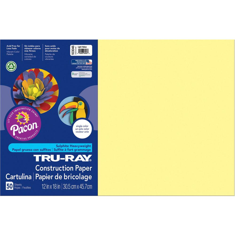 """Tru-Ray Heavyweight Construction Paper - 18"""" x 12"""" - 50 / Pack - Light Yellow - Sulphite. Picture 1"""