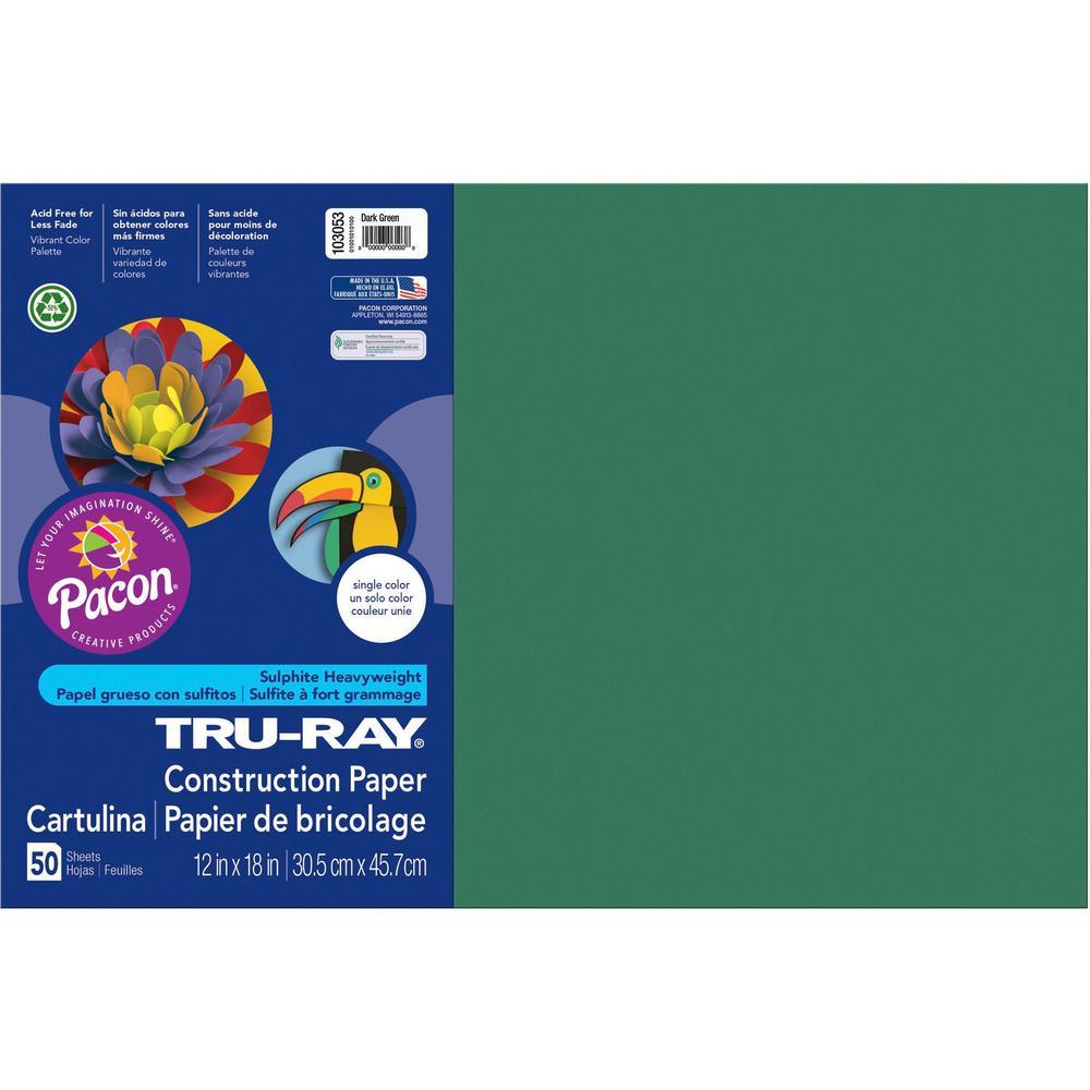 "Tru-Ray Heavyweight Construction Paper - 0.50"" x 18""12"" - 50 / Pack - Dark Green - Sulphite. Picture 1"