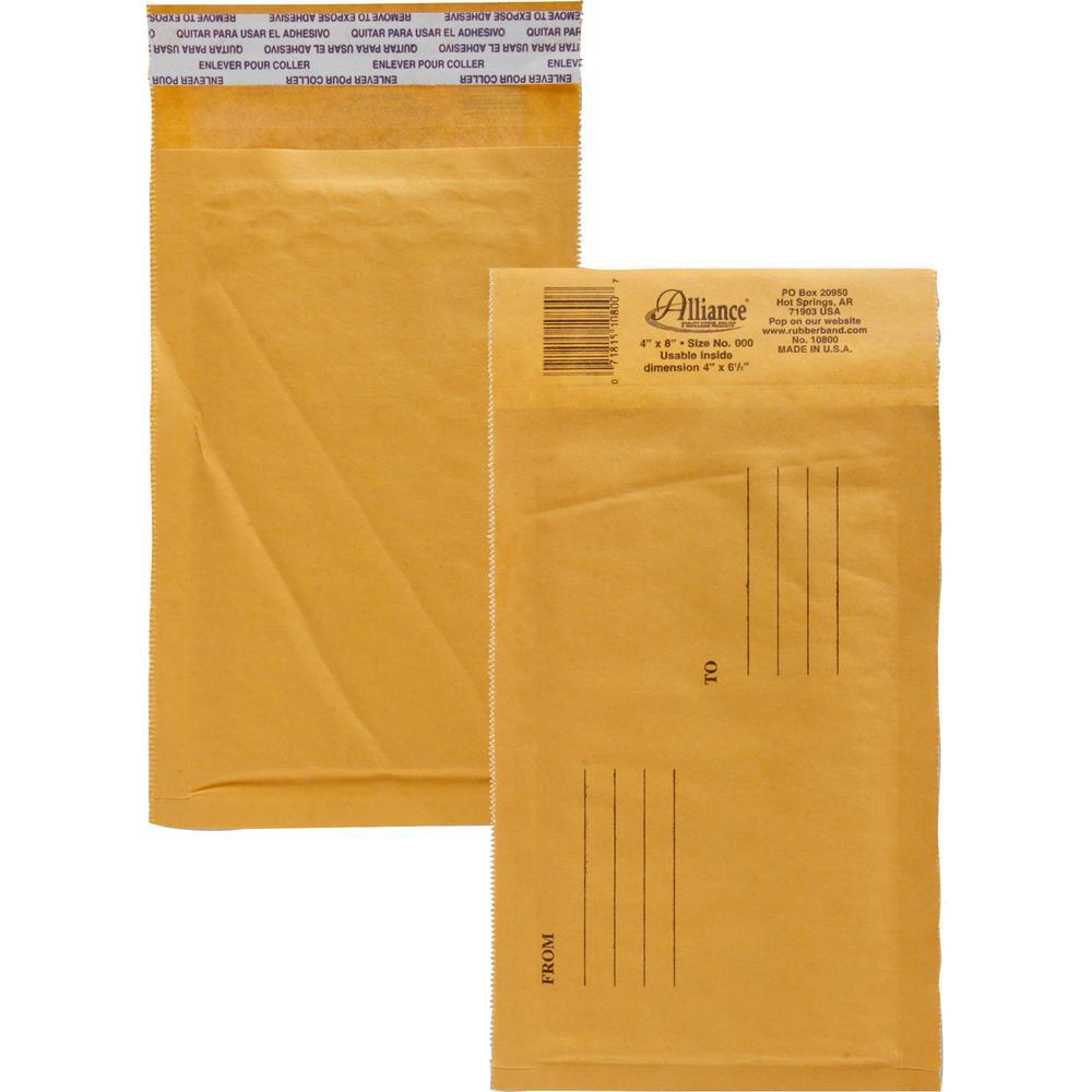 "Alliance Rubber Kraft Bubble Mailers - Bubble - #000 - 4"" Width x 8"" Length - Peel & Seal - Paper - 25 / Carton - Kraft. Picture 1"