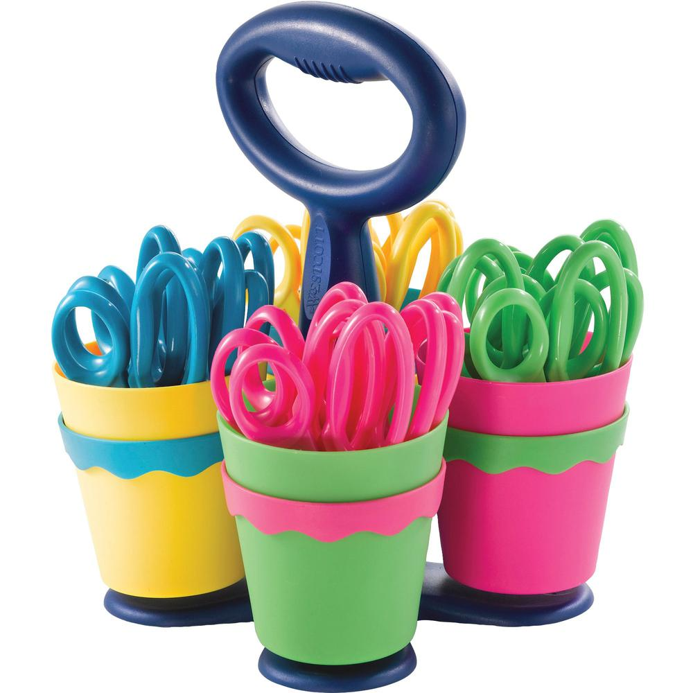 """Westcott Microban Teachers Scissors Caddy - 5"""" Overall Length - Left/Right - Stainless Steel - Blunted Tip - Assorted - 1 Each. Picture 1"""
