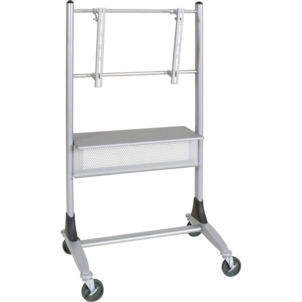 """MooreCo Platinum Series Plasma/LCD Cart - 67"""" Height x 35"""" Width x 25.5"""" Depth - Steel - Silver. Picture 1"""
