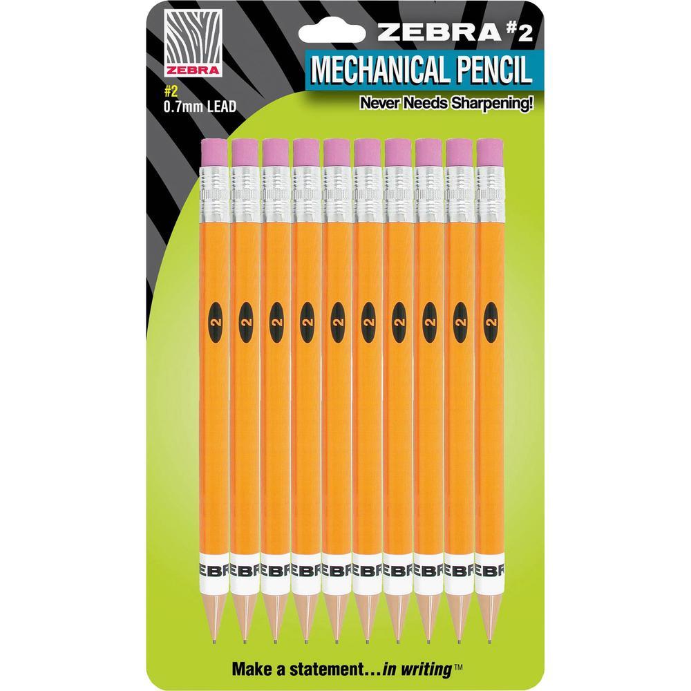 Zebra Pen Push Eraser No. 2 Mechanical Pencils - #2 Lead - 0.7 mm Lead Diameter - Refillable - Yellow Plastic Barrel - 10 / Pack. Picture 1