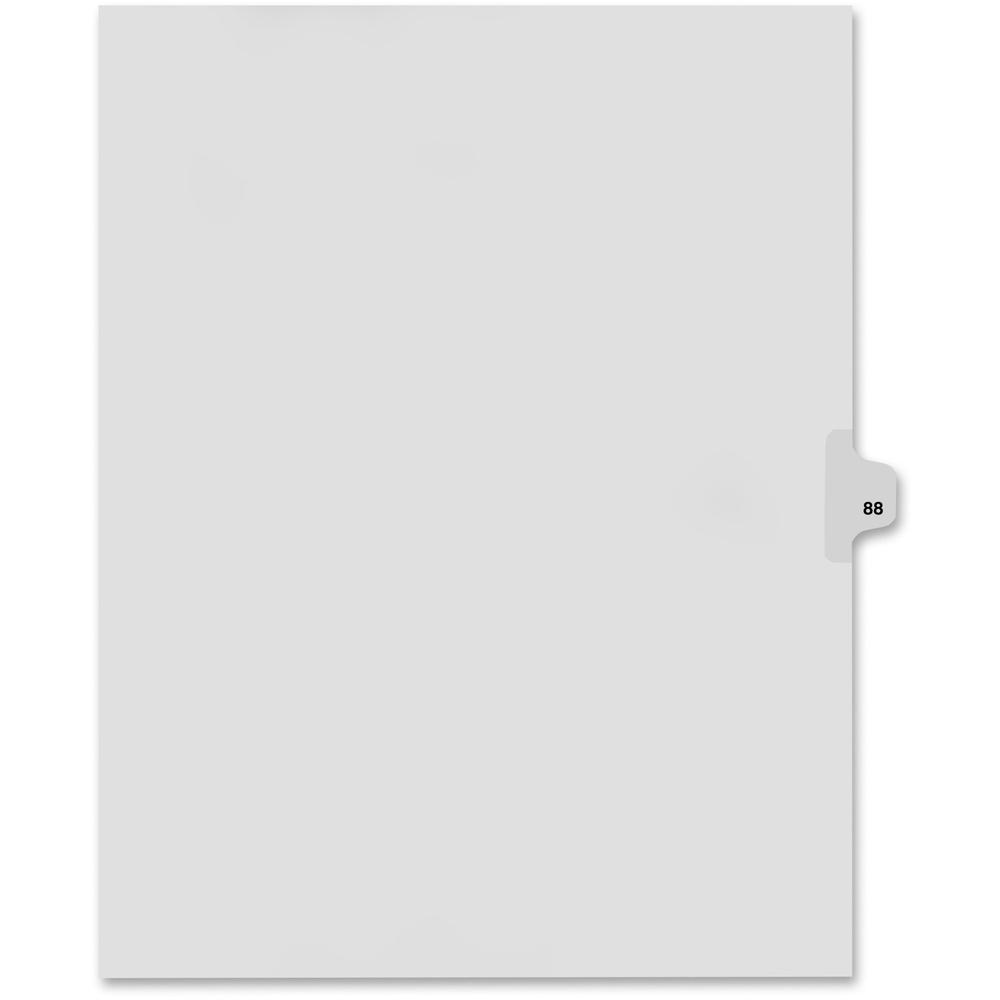 """Kleer-Fax Legal Exhibit Numbered Index Dividers - Printed Tab(s) - Digit - 88 - 8.5"""" Divider Width x 11"""" Divider Length - Letter - White Divider - 25 / Pack. Picture 1"""