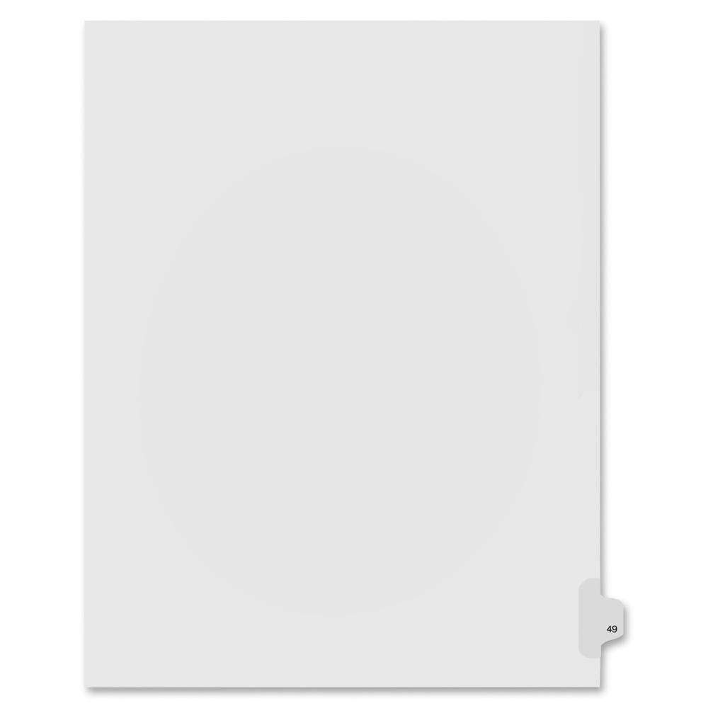 """Kleer-Fax Numeric Laminated Tab Index Dividers - Printed Tab(s) - Digit - 49 - 8.5"""" Divider Width x 11"""" Divider Length - Letter - White Divider - 25 / Pack. Picture 1"""