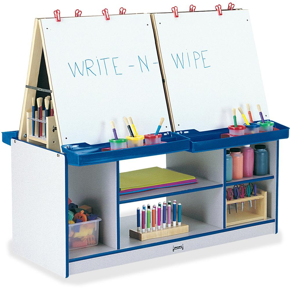 Rainbow Accents 4 Station Art Center - Freckled Gray, Blue Stand - Floor Standing - Assembly Required - 1 Each. Picture 1