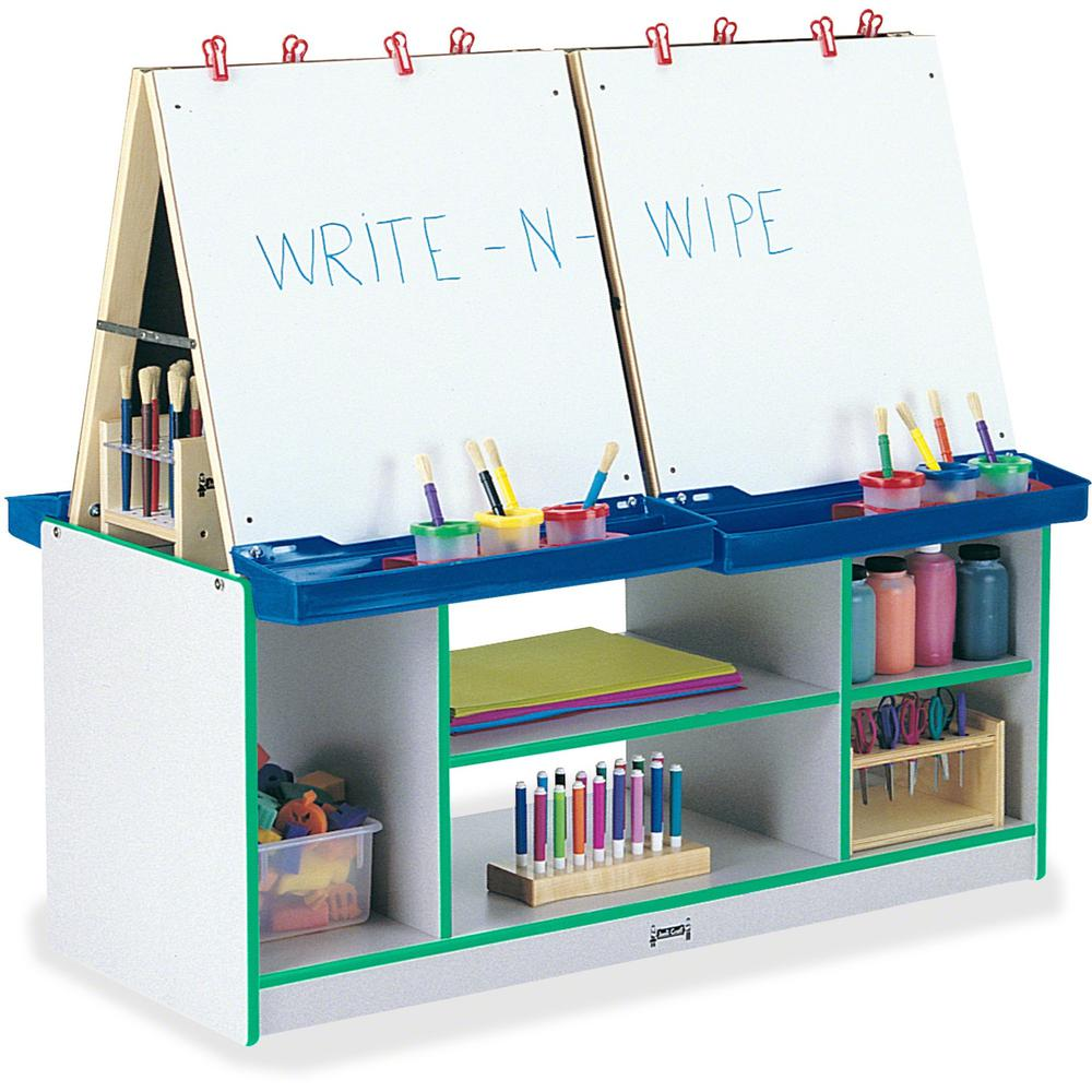 Jonti-Craft Rainbow Accents 4 Station Art Center - Freckled Gray, Green Stand - Floor Standing - Assembly Required - 1 Each. Picture 1