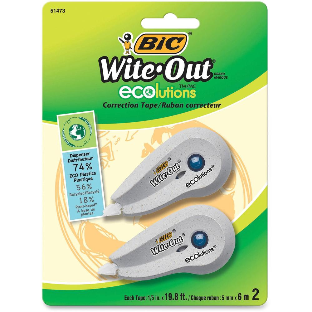 """BIC Wite-Out Correction Tape - 0.20"""" Width x 19.80 ft Length - 1 Line(s) - White TapeWhite Dispenser - Flexible Tip, Non-refillable - 2 / Pack - White. Picture 1"""