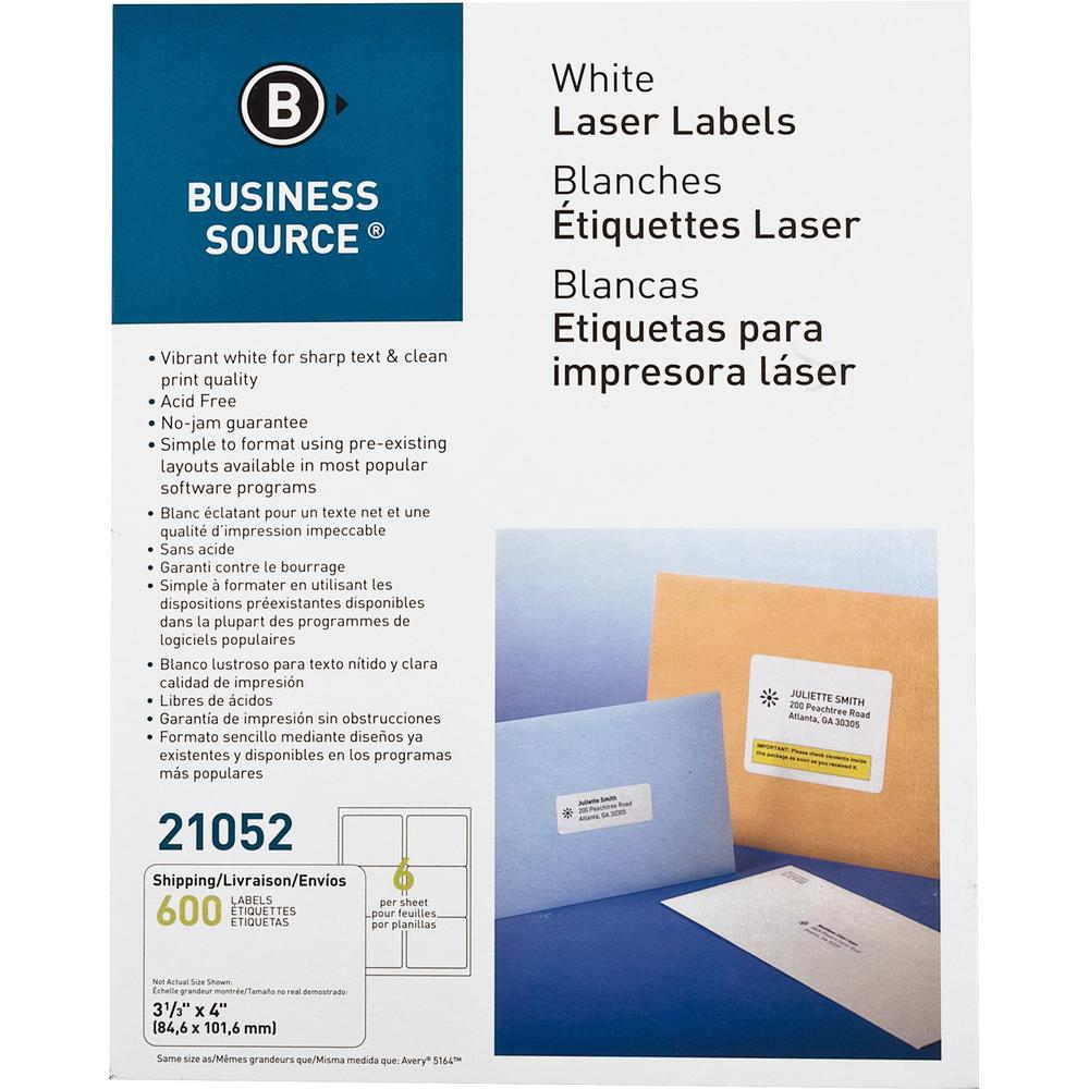 """Business Source Bright White Premium-quality Address Labels - Permanent Adhesive - 3.33"""" x 4"""" Length - Rectangle - Laser, Inkjet - White - 6 / Sheet - 100 Total Sheets - 600 / Pack. Picture 1"""