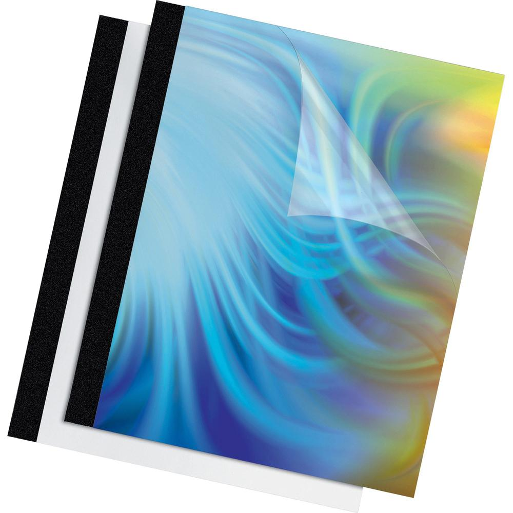 """Fellowes Thermal Presentation Covers - 1/4"""" , 60 sheets, Black - 11"""" Height x 8.5"""" Width x 0.3"""" Depth - 0.25"""" Maximum Capacity - 60 x Sheet Capacity - Rectangular - Black, Clear - Polyvinyl Chloride (. Picture 1"""
