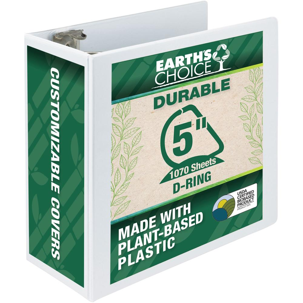 """Samsill Earth's Choice Durable 5"""" Biobased USDA Certified Eco-friendly View Binder - 5"""" Binder Capacity - Letter - 8 1/2"""" x 11"""" Sheet Size - 1070 Sheet Capacity - D-Ring Fastener(s) - 2 Pocket(s) - Po. Picture 1"""