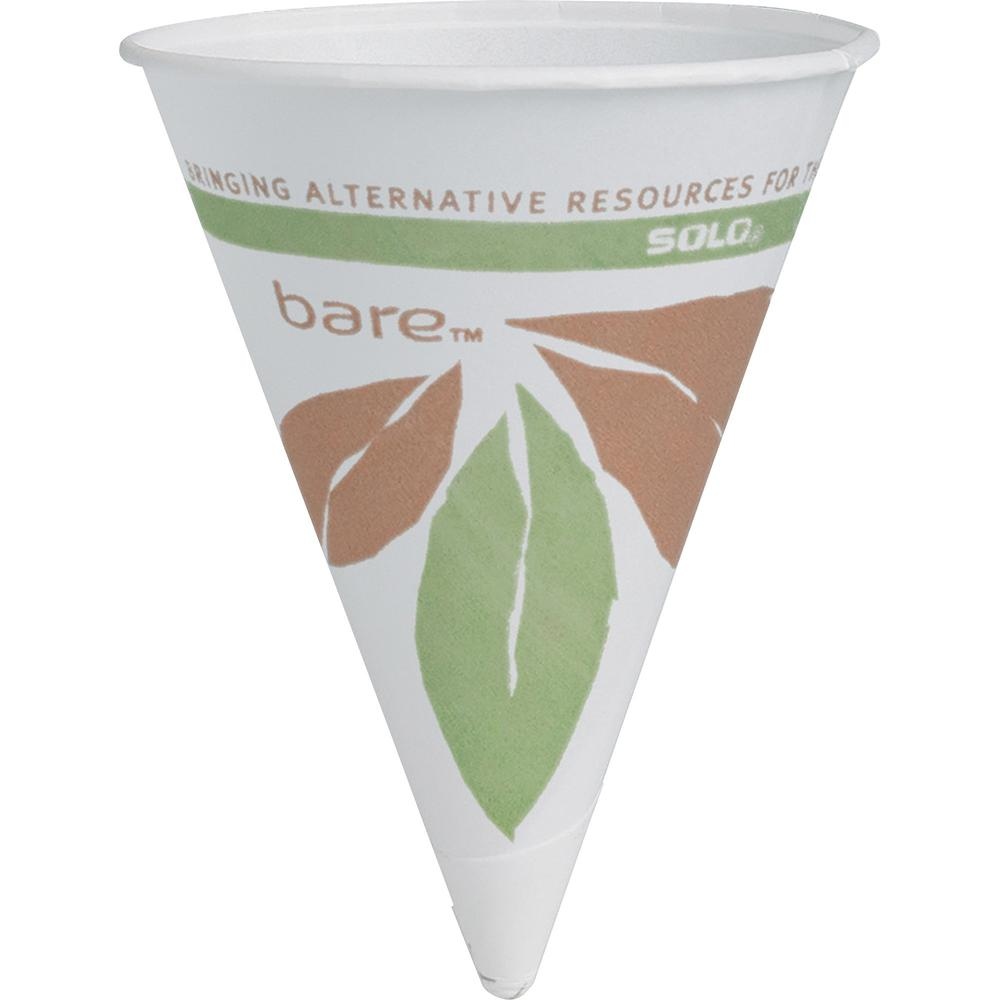 Solo Cup 4oz Bare Paper Cone Cup - 4 fl oz - Cone - 200 / Pack - Multi - Paper - Cold Drink. Picture 1