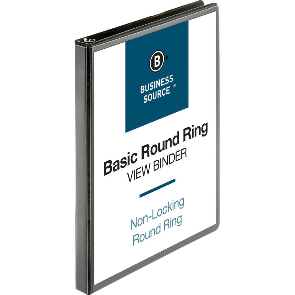 "Business Source Round-ring View Binder - 1/2"" Binder Capacity - Letter - 8 1/2"" x 11"" Sheet Size - 125 Sheet Capacity - Round Ring Fastener(s) - 2 Internal Pocket(s) - Polypropylene - Black - Wrinkle-. Picture 1"