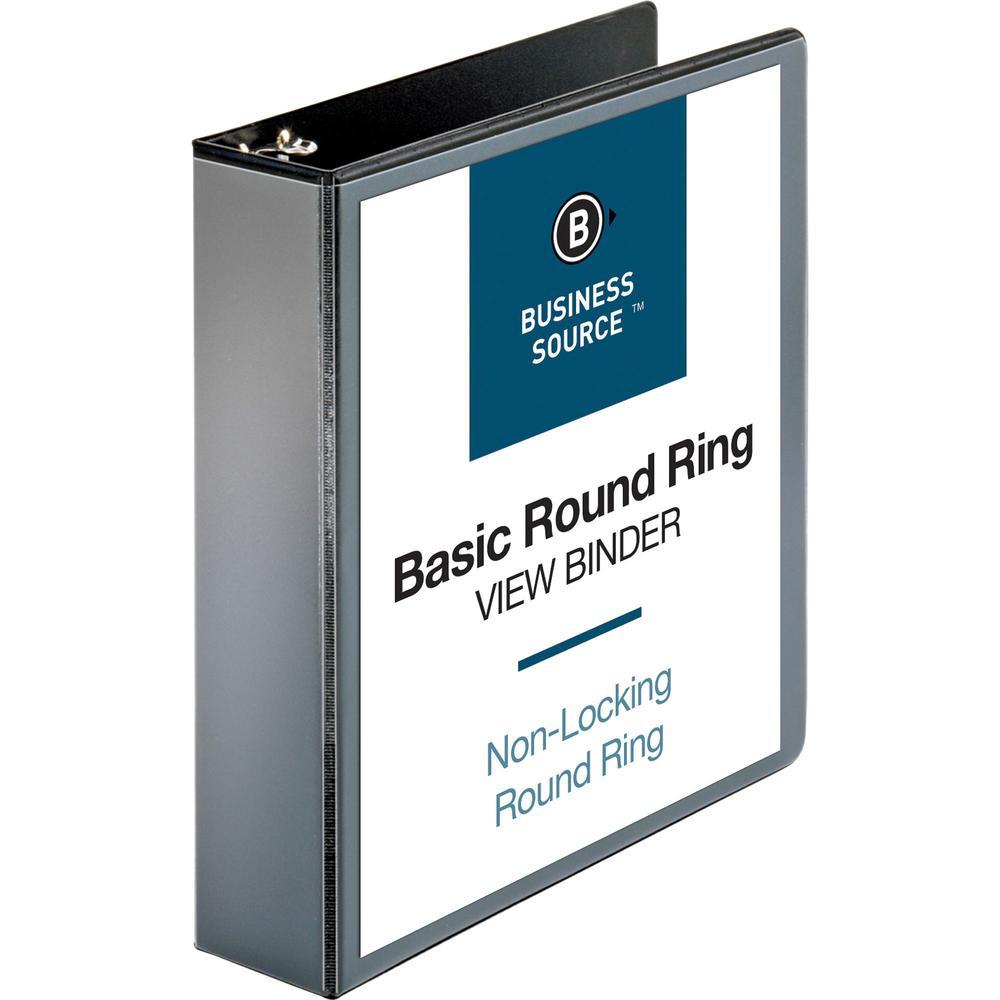 "Business Source Round-ring View Binder - 2"" Binder Capacity - Letter - 8 1/2"" x 11"" Sheet Size - 475 Sheet Capacity - Round Ring Fastener(s) - 2 Internal Pocket(s) - Polypropylene - Black - Wrinkle-fr. Picture 1"