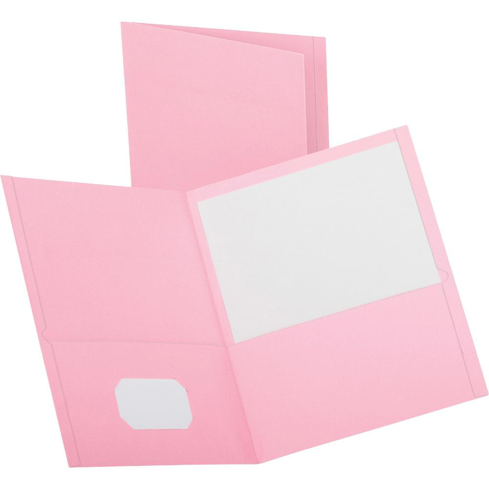 """Oxford Letter Recycled Pocket Folder - 8 1/2"""" x 11"""" - 2 Pocket(s) - Leatherette Paper - Pink - 10% Recycled - 25 / Box. Picture 1"""