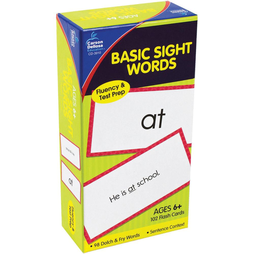 Carson Dellosa Education Grades 1-3 Basic Sight Words Flash Card Set - Word - 1 / Pack. Picture 1