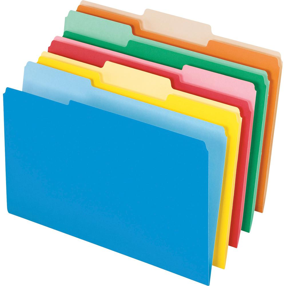 """Pendaflex 1/3 Tab Cut Legal Recycled Top Tab File Folder - 8 1/2"""" x 14"""" - Assorted - 10% - 100 / Box. Picture 1"""