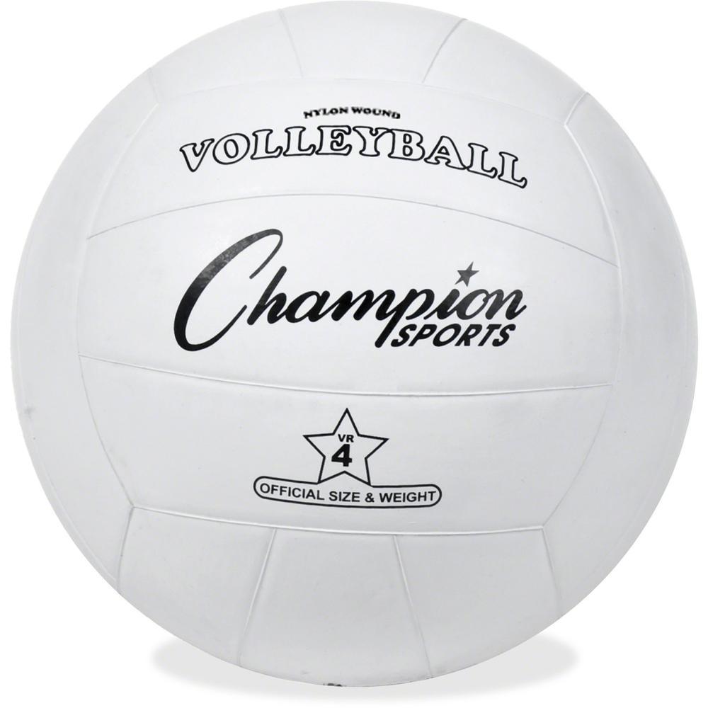 Champion Sports Rubber Volleyball - Rubber, Nylon - White - 24 / Case. Picture 1