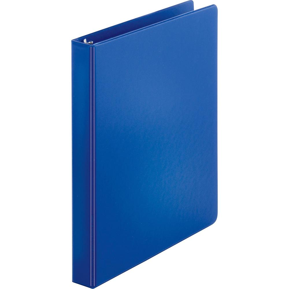 "Business Source Basic Round-ring Binder - 1"" Binder Capacity - Letter - 8 1/2"" x 11"" Sheet Size - 3 x Round Ring Fastener(s) - Inside Front & Back Pocket(s) - Vinyl - Dark Blue - 12.80 oz - Exposed Ri. Picture 1"