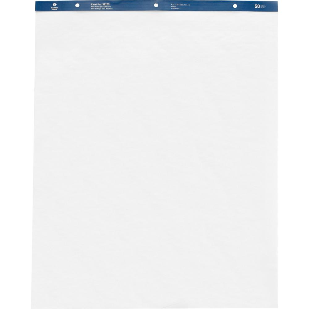 """Business Source Standard Easel Pad - 50 Sheets - Plain - 15 lb Basis Weight - 27"""" x 34"""" - White Paper - Perforated - 4 / Carton. Picture 1"""