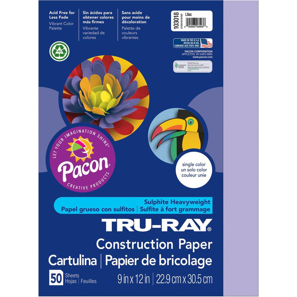 """Tru-Ray Construction Paper - Project, Bulletin Board - 12"""" x 9"""" - 50 / Pack - Lilac - Sulphite. Picture 1"""