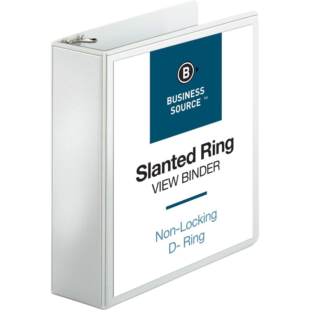 """Business Source Basic D-Ring White View Binders - 3"""" Binder Capacity - Letter - 8 1/2"""" x 11"""" Sheet Size - D-Ring Fastener(s) - Polypropylene - White - 1.70 lb - Clear Overlay - 1 Each. Picture 1"""
