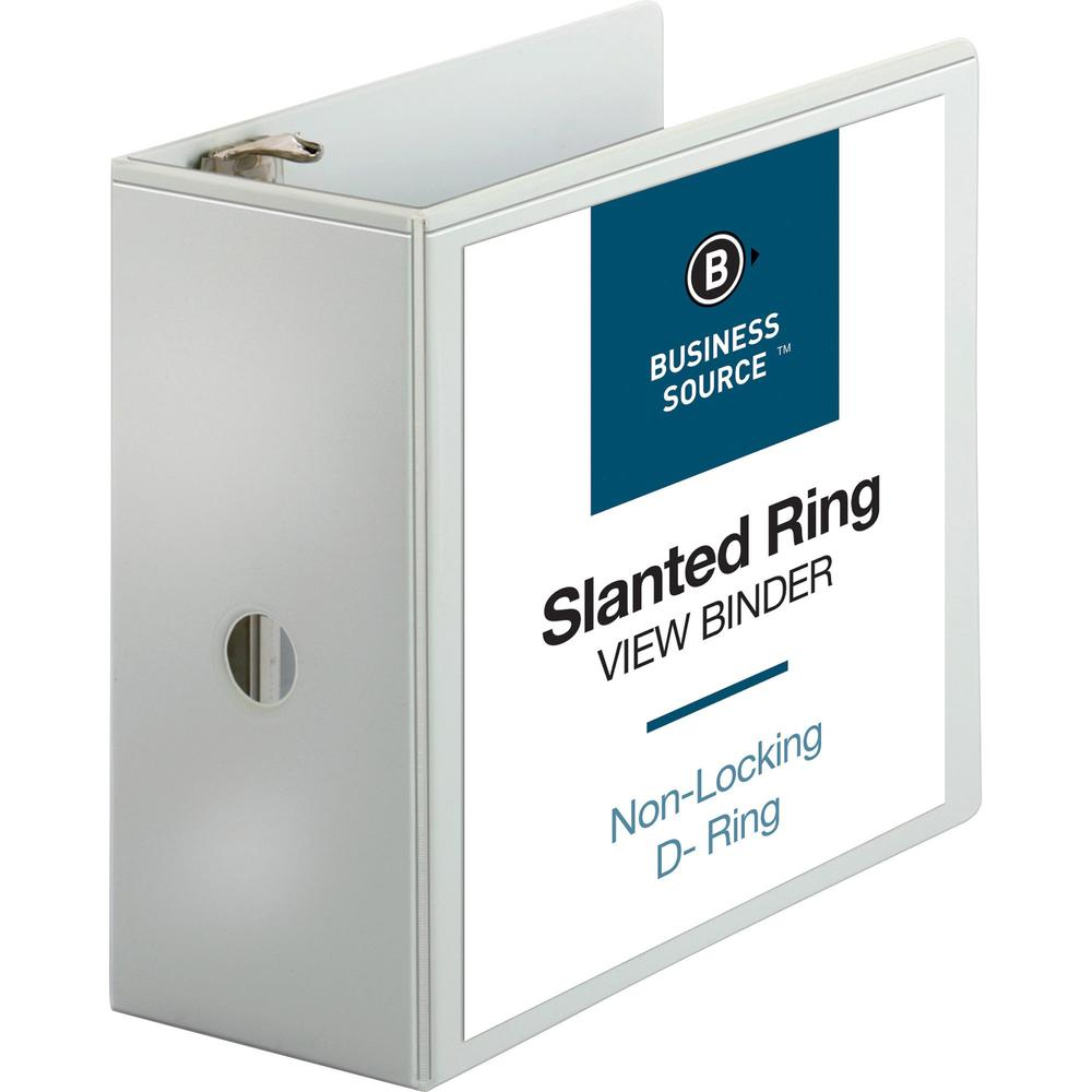 """Business Source Basic D-Ring White View Binders - 5"""" Binder Capacity - Letter - 8 1/2"""" x 11"""" Sheet Size - D-Ring Fastener(s) - Polypropylene - White - 2.10 lb - Clear Overlay - 1 Each. Picture 1"""