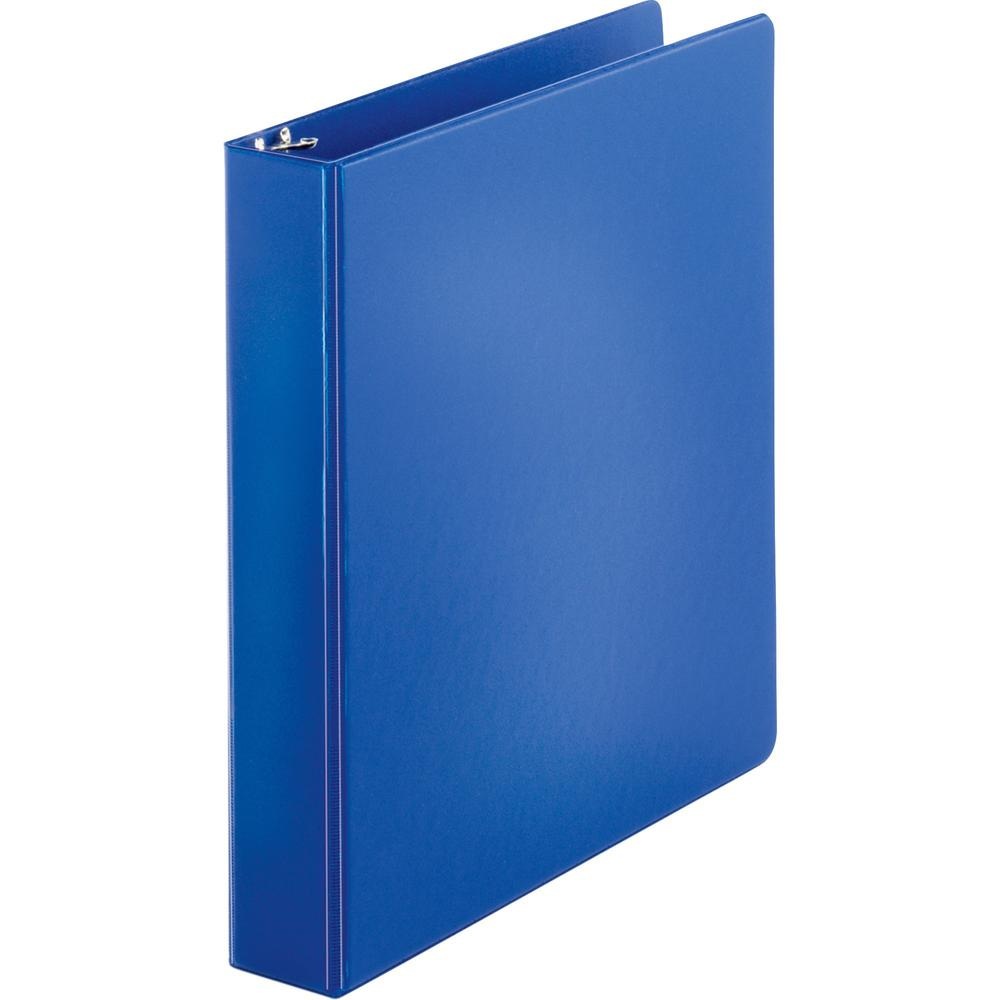 """Business Source Basic Round Ring Binders - 1 1/2"""" Binder Capacity - Letter - 8 1/2"""" x 11"""" Sheet Size - Round Ring Fastener(s) - Vinyl - Dark Blue - 1.02 lb - 1 Each. Picture 1"""