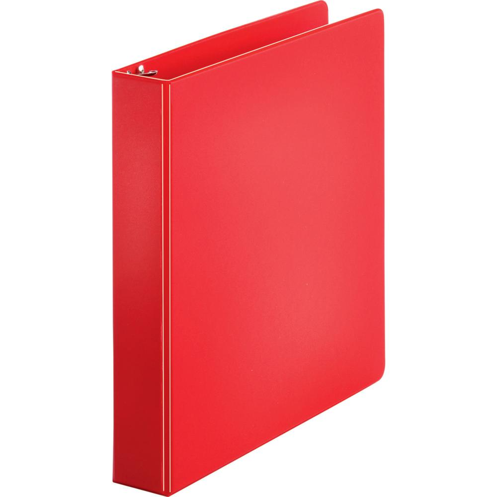 """Business Source Basic Round Ring Binders - 1 1/2"""" Binder Capacity - Letter - 8 1/2"""" x 11"""" Sheet Size - Round Ring Fastener(s) - Vinyl - Red - 1.02 lb - 1 Each. Picture 1"""
