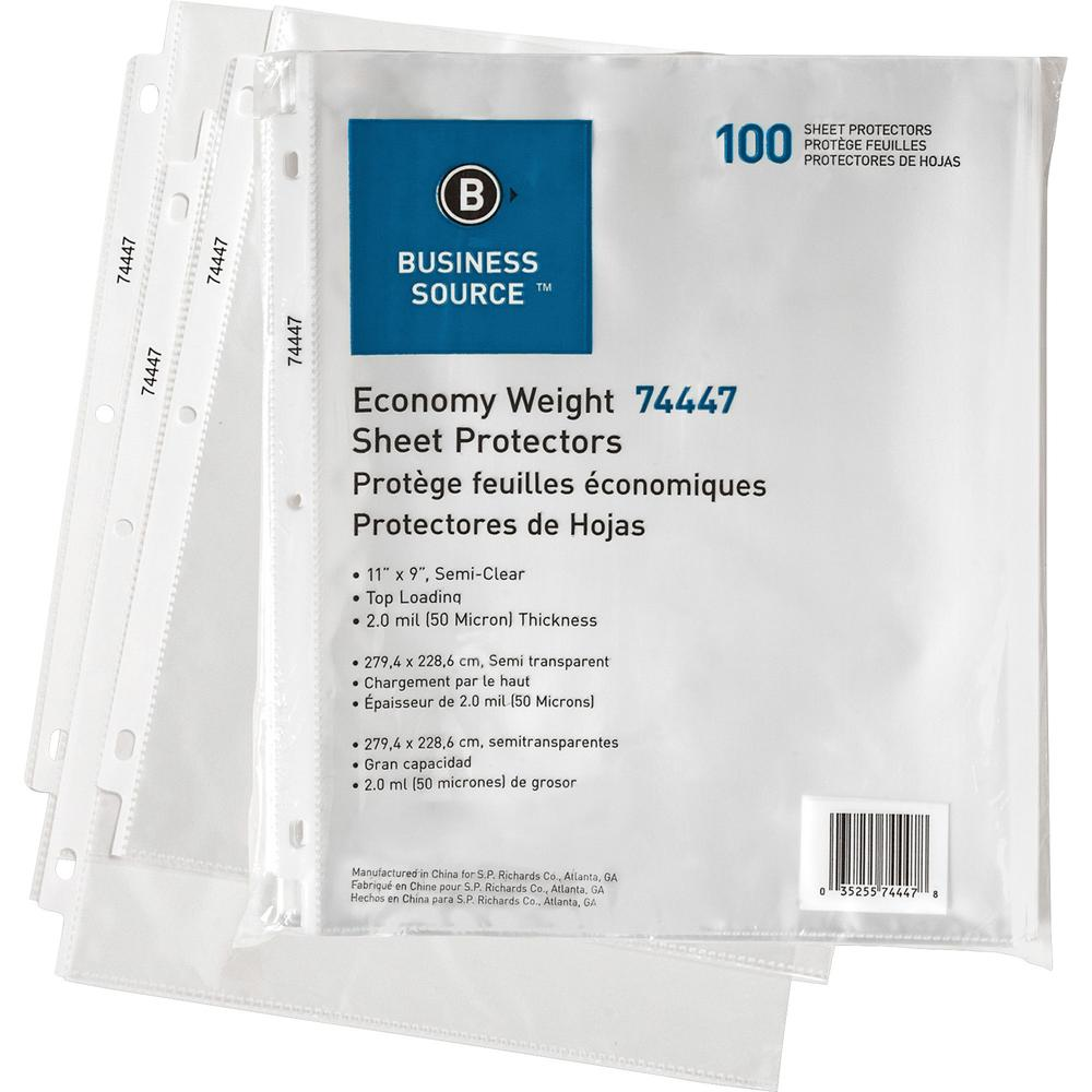 "Business Source Economy Weight Sheet Protectors - 11"" Height x 9"" Width - 2 mil Thickness - For Letter 8 1/2"" x 11"" Sheet - Ring Binder - Rectangular - Semi Clear - Polypropylene - 100 / Pack. Picture 1"