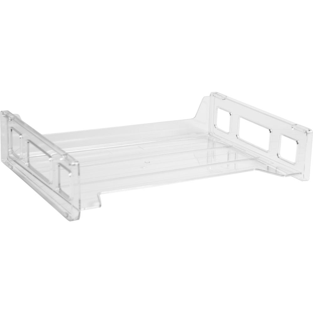 Business Source Side-loading Stackable Letter Trays - Desktop - Stackable - Clear - 1Each. Picture 1