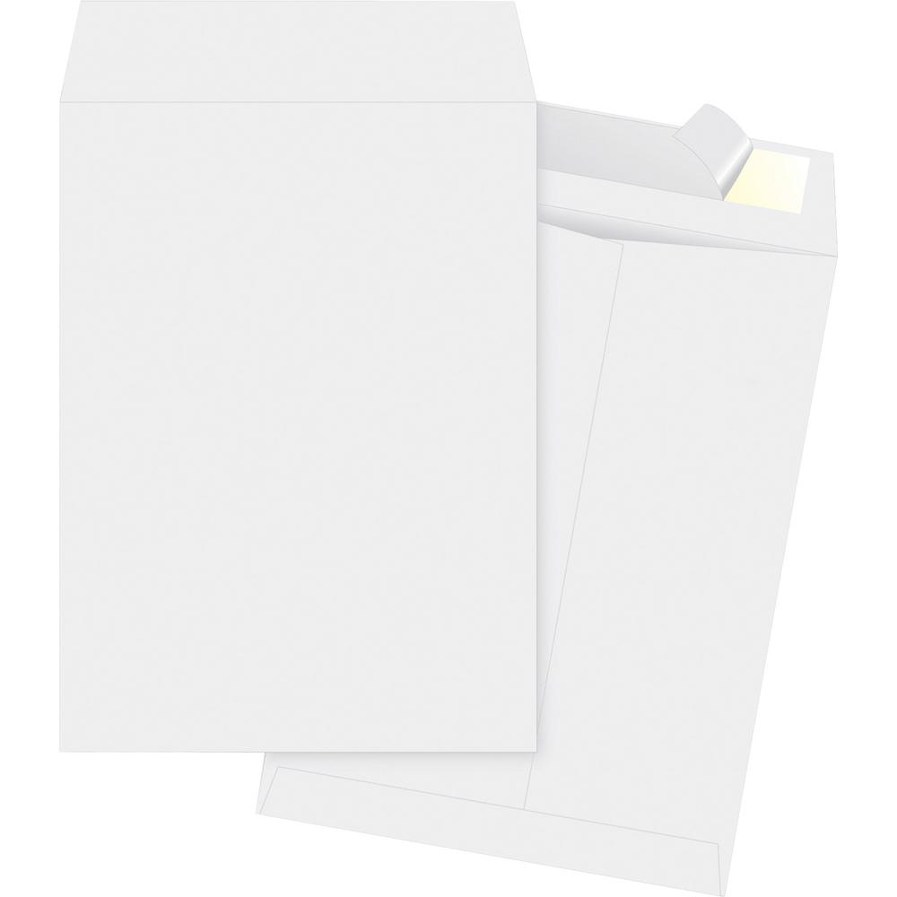 "Business Source Tyvek Open-end Envelopes - Catalog - #10 1/2 - 9"" Width x 12"" Length - Peel & Seal - Tyvek - 100 / Box - White. Picture 1"
