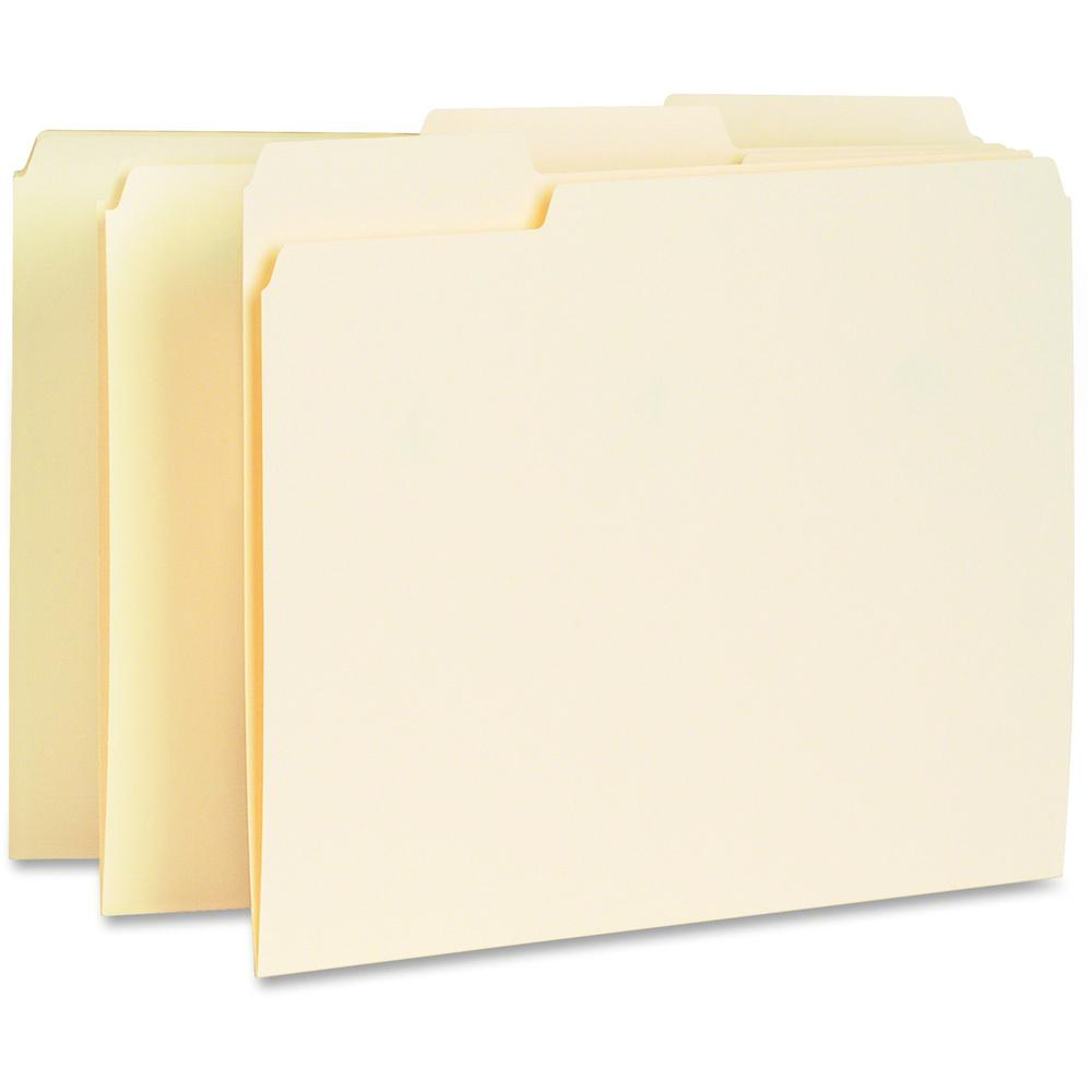 """Business Source Manila Interior File Folders - Letter - 8 1/2"""" x 11"""" Sheet Size - 1/3 Tab Cut - Top Tab Location - Assorted Position Tab Position - 11 pt. Folder Thickness - Manila - Manila - Recycled. Picture 1"""