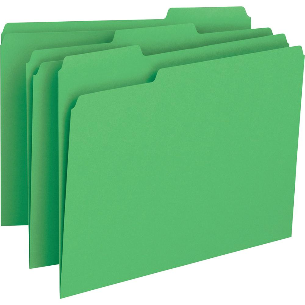 """Business Source Color-coding 1-Ply File Folders - Letter - 8 1/2"""" x 11"""" Sheet Size - 1/3 Tab Cut - Top Tab Location - Assorted Position Tab Position - 11 pt. Folder Thickness - Green - Recycled - 100 . Picture 1"""