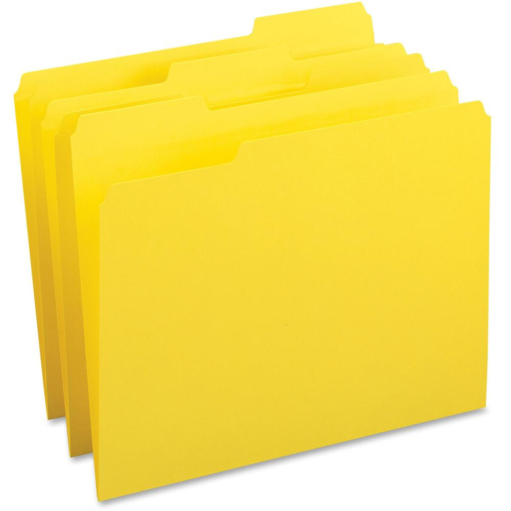 "Business Source Color-coding Top-tab File Folders - Letter - 8 1/2"" x 11"" Sheet Size - 1/3 Tab Cut - Top Tab Location - Assorted Position Tab Position - 11 pt. Folder Thickness - Yellow - Recycled - 1. Picture 1"