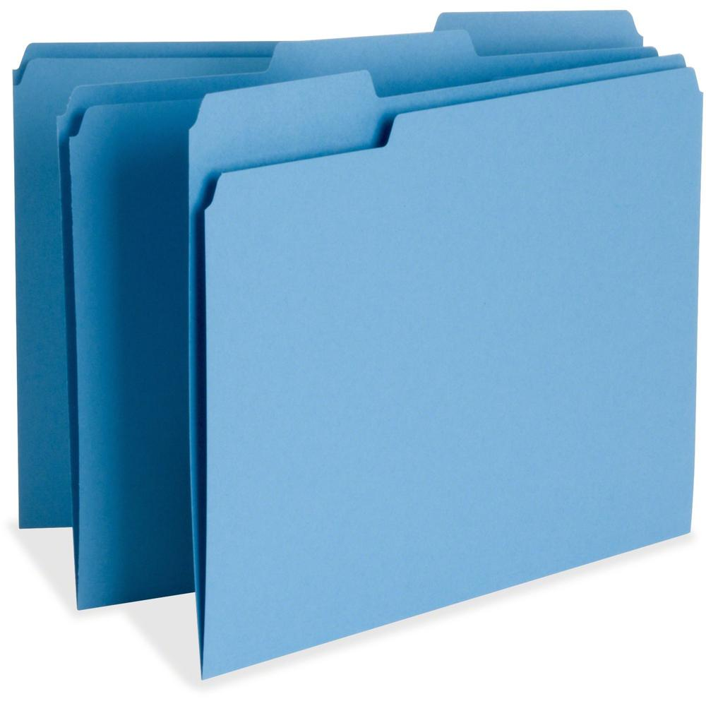 """Business Source Color-coding Top-tab File Folders - Letter - 8 1/2"""" x 11"""" Sheet Size - 1/3 Tab Cut - Top Tab Location - Assorted Position Tab Position - 11 pt. Folder Thickness - Blue - Recycled - 100. Picture 1"""