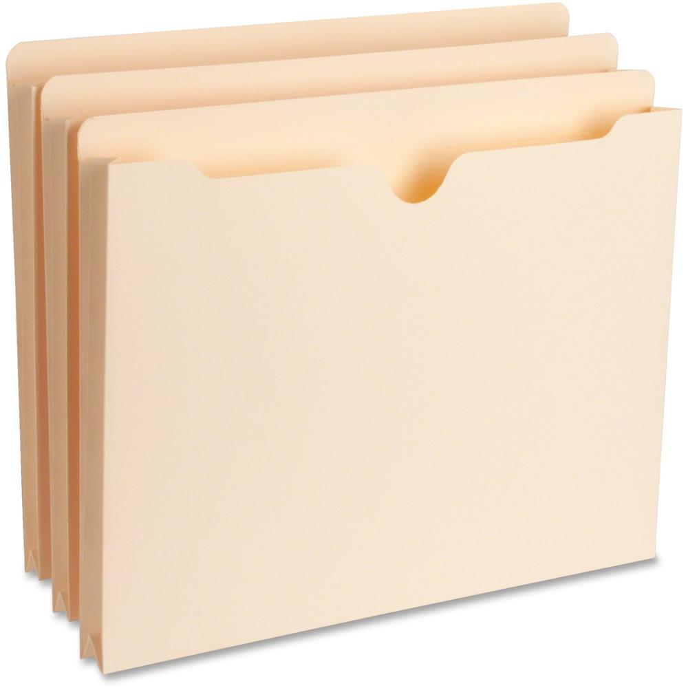 "Business Source 1"" Expansion Heavyweight File Pockets - Letter - 8 1/2"" x 11"" Sheet Size - 1"" Expansion - Straight Tab Cut - 11 pt. Folder Thickness - Manila - Recycled - 50 / Box. Picture 1"