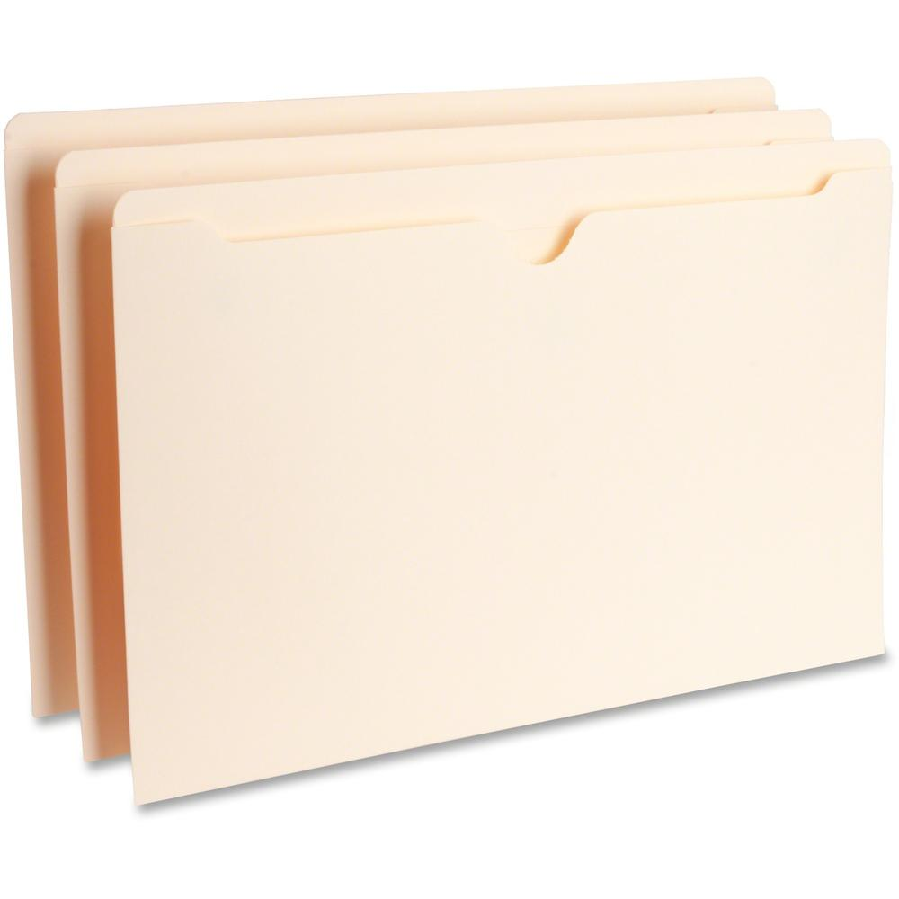 """Business Source Manila Flat File Pockets - Legal - 8 1/2"""" x 14"""" Sheet Size - 11 pt. Folder Thickness - Manila - Recycled - 100 / Box. Picture 1"""