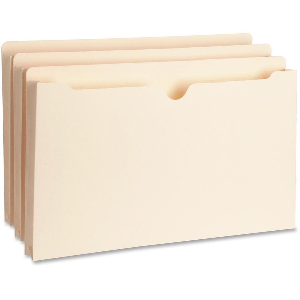 """Business Source 1"""" Expansion Heavyweight File Pockets - Legal - 8 1/2"""" x 14"""" Sheet Size - 1"""" Expansion - Straight Tab Cut - 11 pt. Folder Thickness - Manila - Recycled - 50 / Box. Picture 1"""