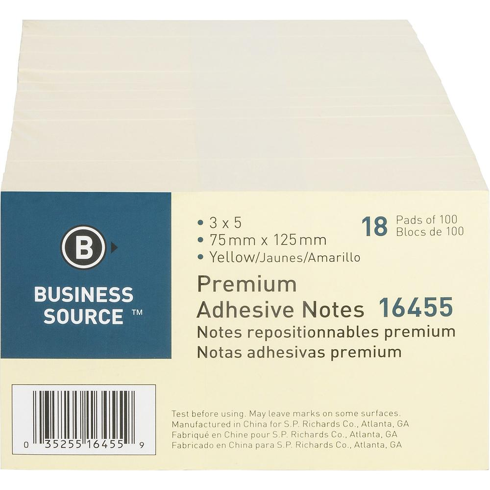 """Business Source Repositionable Notes - 3"""" x 5"""" - Rectangle - Yellow - Repositionable, Solvent-free Adhesive - 18 / Pack. Picture 1"""