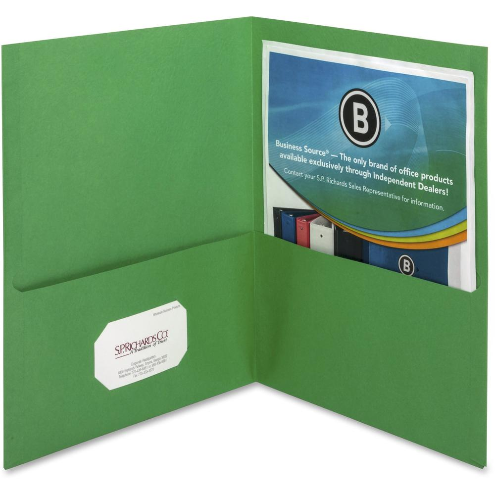 "Business Source Two-Pocket Folders - Letter - 8 1/2"" x 11"" Sheet Size - 125 Sheet Capacity - 2 Inside Front & Back Pocket(s) - Paper - Green - Recycled - 25 / Box. Picture 1"