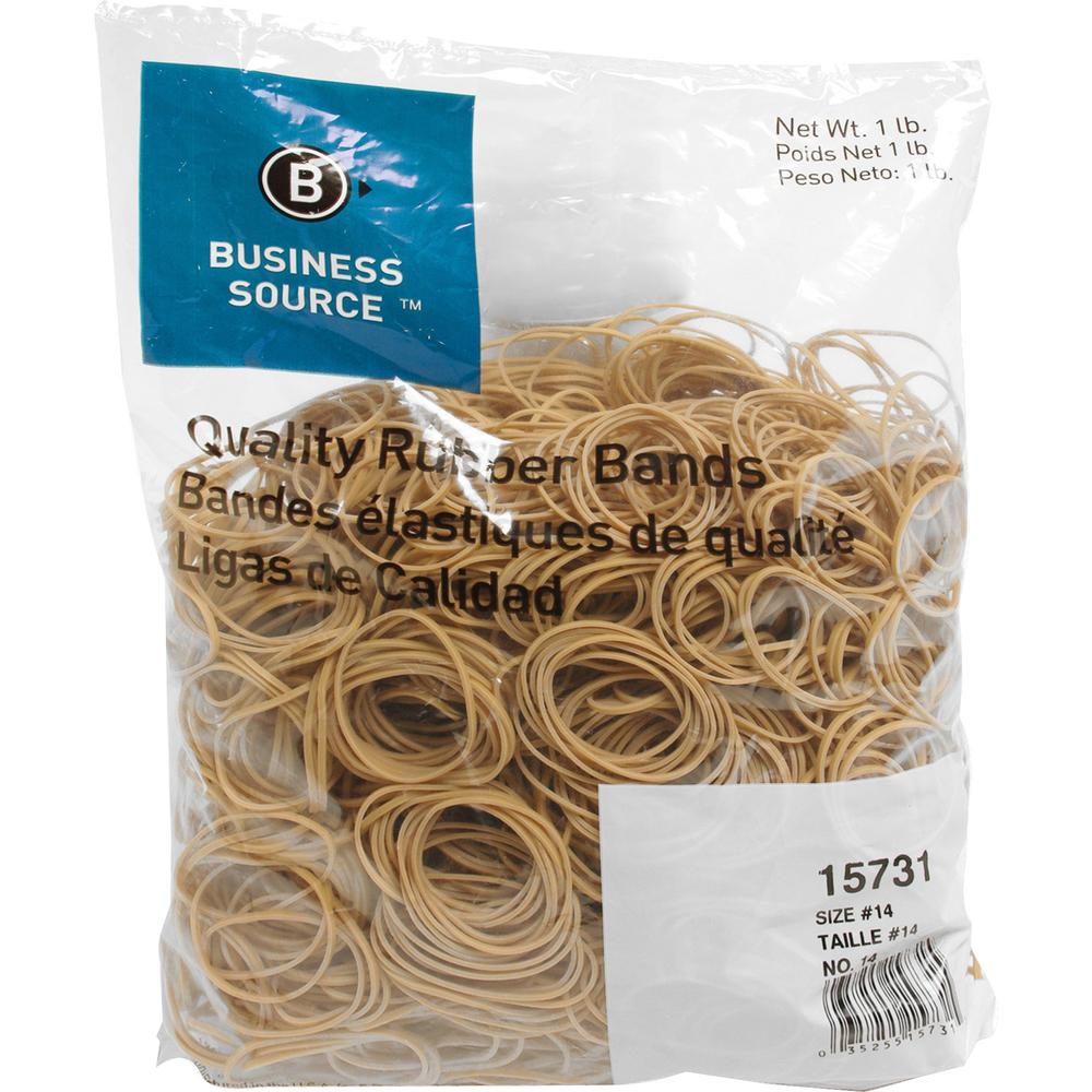 """Business Source Quality Rubber Bands - Size: #14 - 2"""" Length x 0.1"""" Width - Sustainable - 2250 / Pack - Rubber - Crepe. Picture 1"""