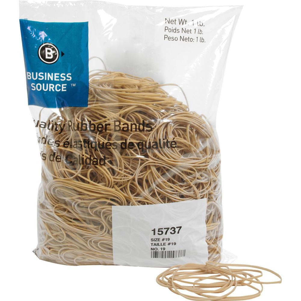 """Business Source Quality Rubber Bands - Size: #19 - 3.5"""" Length x 0.1"""" Width - Sustainable - 1250 / Pack - Rubber - Crepe. Picture 1"""
