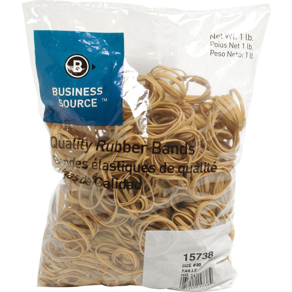 """Business Source Quality Rubber Bands - Size: #30 - 2"""" Length x 0.1"""" Width - Sustainable - 1150 / Pack - Rubber - Crepe. Picture 1"""