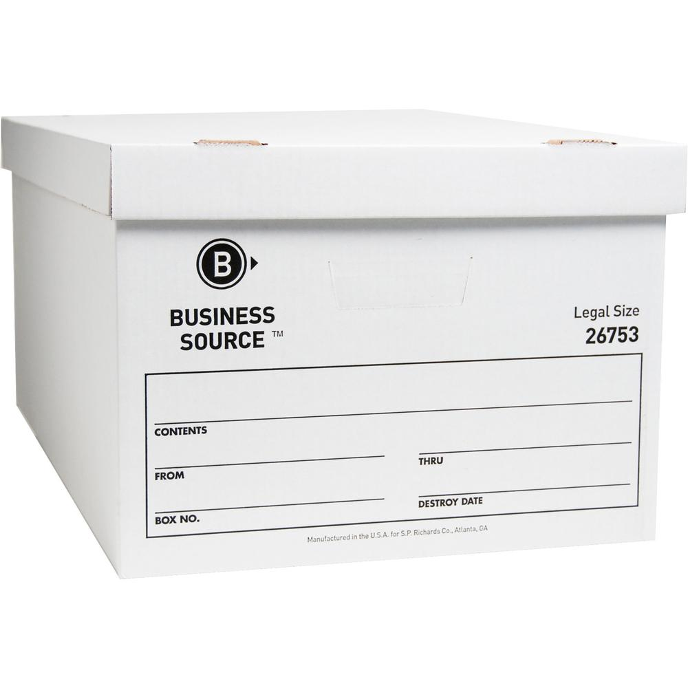 "Business Source Lift-off Lid Light Duty Storage Box - External Dimensions: 15"" Width x 24"" Depth x 10""Height - Media Size Supported: Legal - Lift-off Closure - Light Duty - Stackable - Cardboard - Whi. Picture 1"