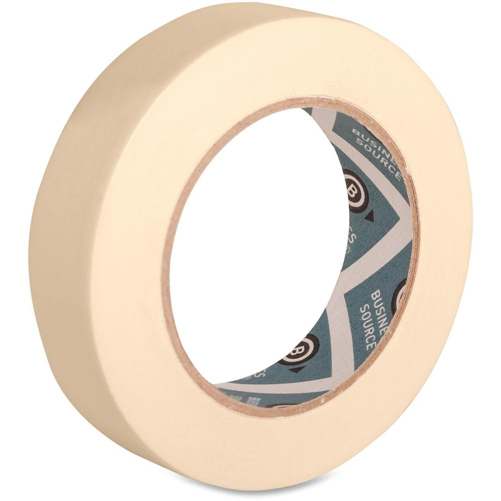 "Business Source Utility-purpose Masking Tape - 60 yd Length x 1"" Width - 3"" Core - Crepe Paper Backing - 1 Roll - Tan. Picture 1"