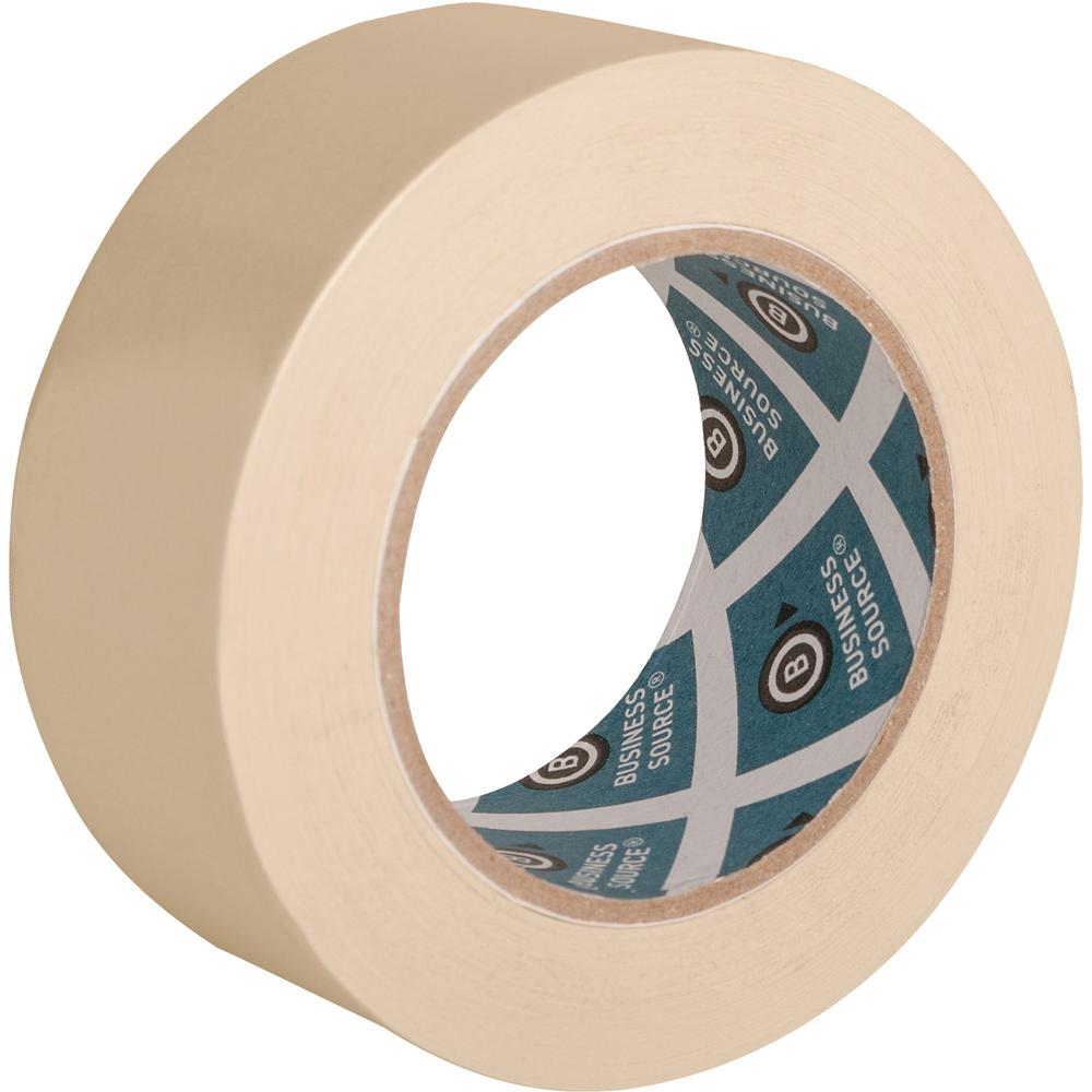 "Business Source Utility-purpose Masking Tape - 60 yd Length x 2"" Width - 3"" Core - Crepe Paper Backing - 1 Roll - Tan. Picture 1"