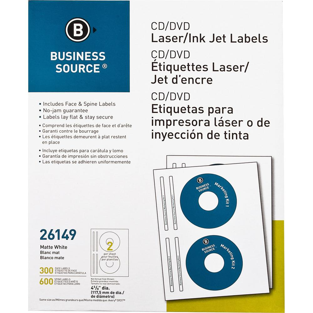 "Business Source Laser/Inkjet CD/DVD Labels - Permanent Adhesive - 4.62"" Diameter - Circle - Inkjet, Laser - White - 300 / Pack"