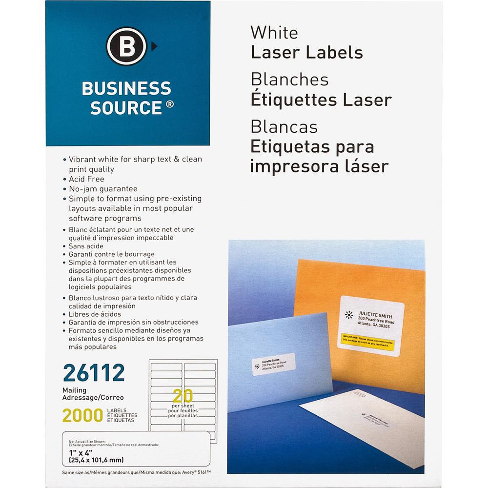 """Business Source Bright White Premium-quality Address Labels - Permanent Adhesive - 1"""" x 4"""" Length - Rectangle - Laser, Inkjet - White - 20 / Sheet - 100 Total Sheets - 2000 / Pack. Picture 1"""