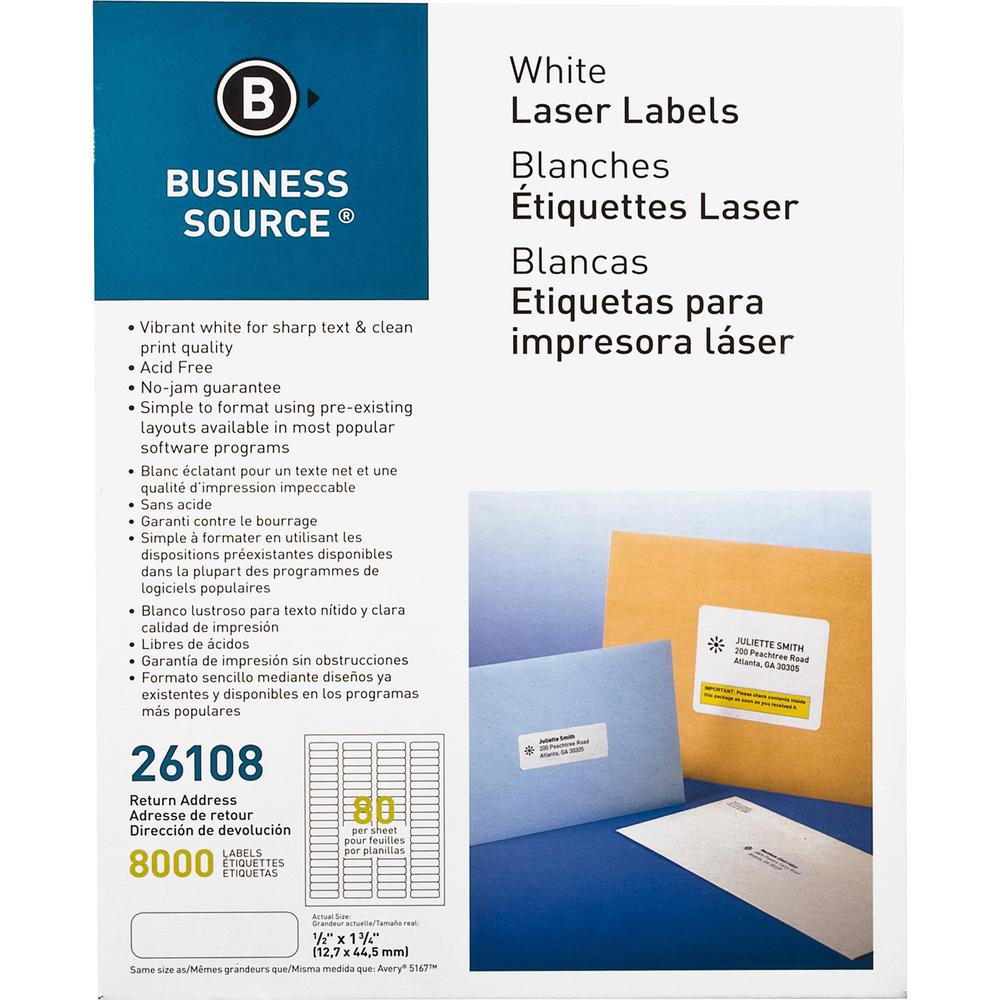 """Business Source Address Laser Labels - Permanent Adhesive - 0.50"""" x 1.75"""" Length - Rectangle - Laser - White - 80 / Sheet - 100 Total Sheets - 8000 / Pack. Picture 1"""