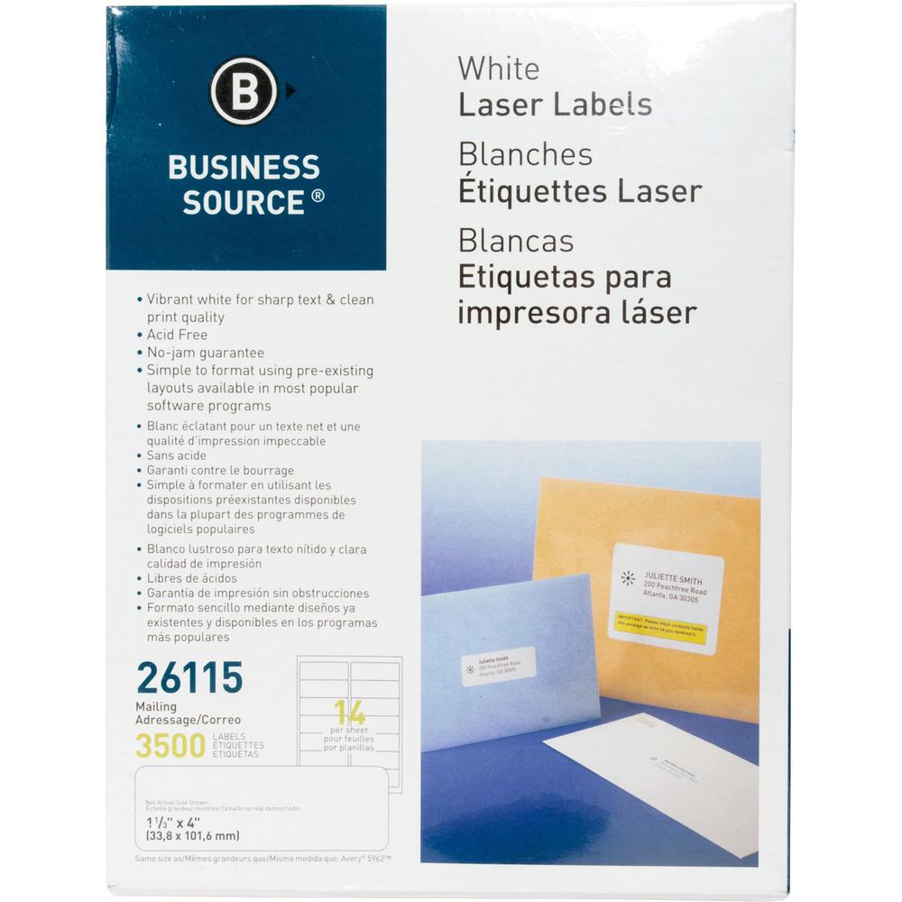"""Business Source Bright White Premium-quality Address Labels - Permanent Adhesive - 1.33"""" x 4"""" Length - Rectangle - Laser, Inkjet - White - 14 / Sheet - 250 Total Sheets - 3500 / Pack. Picture 1"""